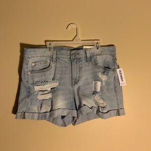 Light wash, ripped denim shorts
